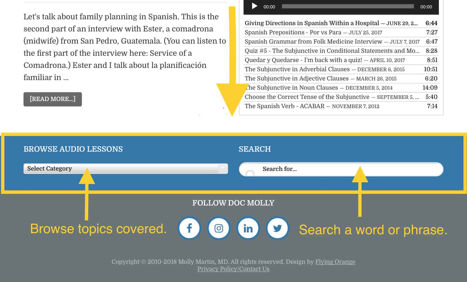Search Spanish topics using the browse and search widgets at the bottom of each page.